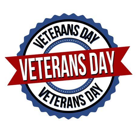 Veterans day label or sticker on white background, vector illustration Çizim