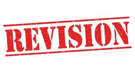 Revision sign or stamp on white background, vector illustration