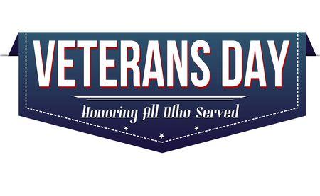 Veterans day banner design on white background, vector illustration
