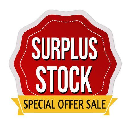 Surplus stock label or sticker on white background, vector illustration
