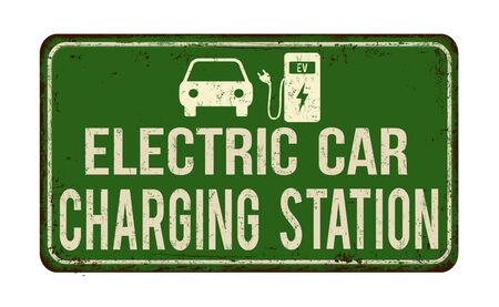 Electric car charging station vintage rusty metal sign on a white background, vector illustration 向量圖像