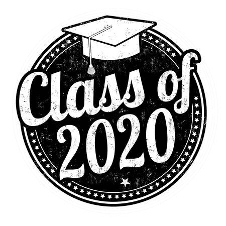 Classe del 2020 grunge timbro di gomma su bianco, illustrazione vettoriale Vettoriali
