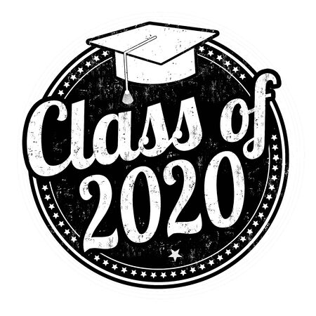 Klasse von 2020 Grunge-Stempel auf weiß, Vektorillustration Vektorgrafik