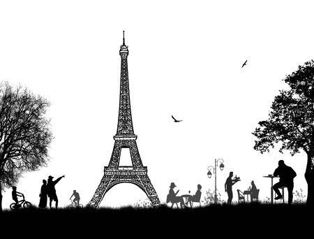 Beautiful landscape design with Eiffel Tower and people silhouettes on white background, vector illustration Illustration