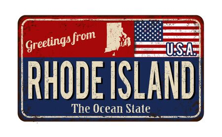 Greetings from Rhode Island vintage rusty metal sign on a white background, vector illustration