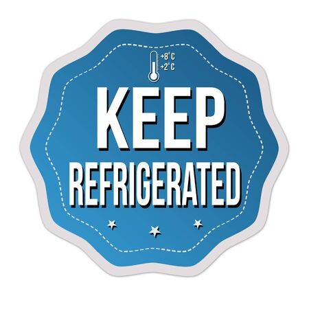 Keep refrigerated label or sticker on white background, vector illustration Иллюстрация