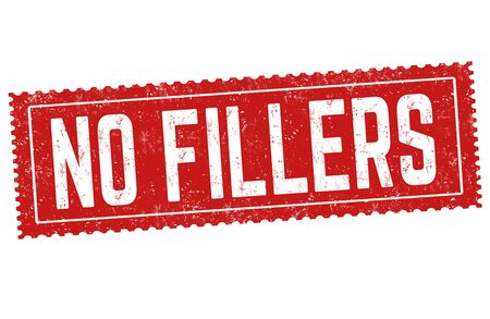 No fillers sign or stamp on white background, vector illustration Çizim