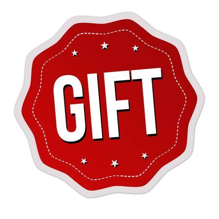Gift label or sticker on white background, vector illustration Reklamní fotografie - 132055550