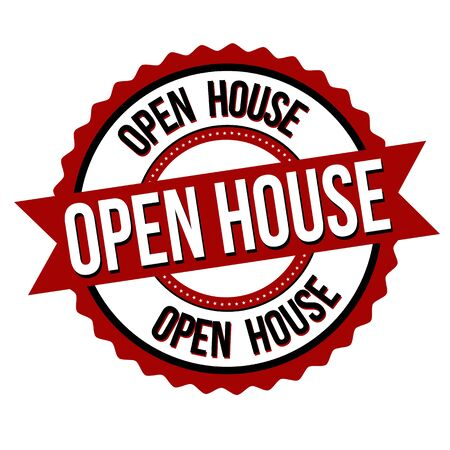 Open house label or sticker on white background, vector illustration