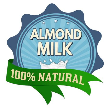 Almond milk label or sticker on white background, vector illustration