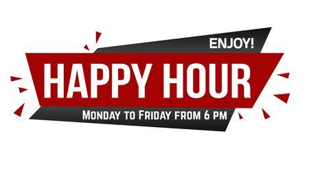 Happy hour banner design on white background, vector illustration