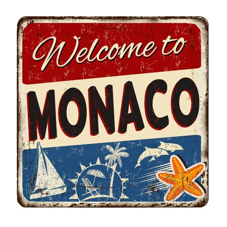 Welcome to Monaco vintage rusty metal sign on a white background, vector illustration