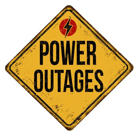 Power outages vintage rusty metal sign on a white background, vector illustration