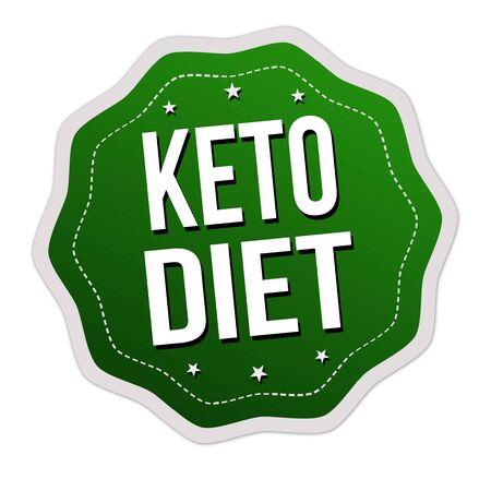 Keto diet label or sticker on white background, vector illustration Çizim