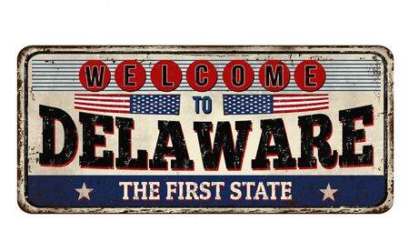 Welcome to Delaware vintage rusty metal sign on a white background, vector illustration Ilustrace