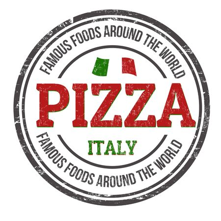 Famous foods around the world. Pizza sign or stamp on white background, vector illustration