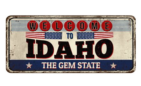Welcome to Idaho vintage rusty metal sign on a white background, vector illustration Ilustrace