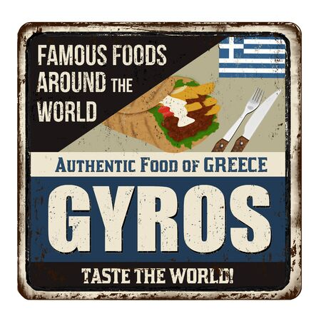 Famous foods around the world. Gyros vintage rusty metal sign on a white background, vector illustration