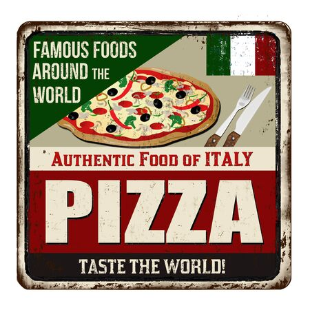 Famous foods around the world. Pizza vintage rusty metal sign on a white background, vector illustration