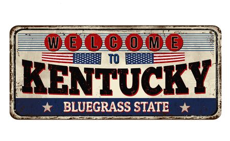Welcome to Kentucky vintage rusty metal sign on a white background, vector illustration Vetores