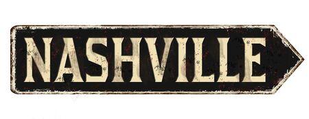 Nashville vintage rusty metal sign on a white background, vector illustration