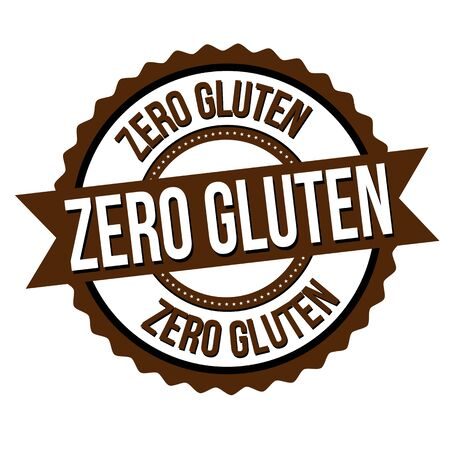 Zero gluten label or sticker on white background, vector illustration Ilustração