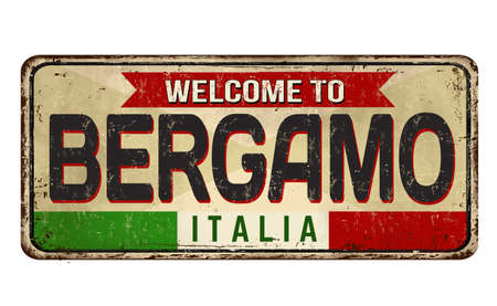 Bergamo vintage rusty metal sign on a white background, vector illustration