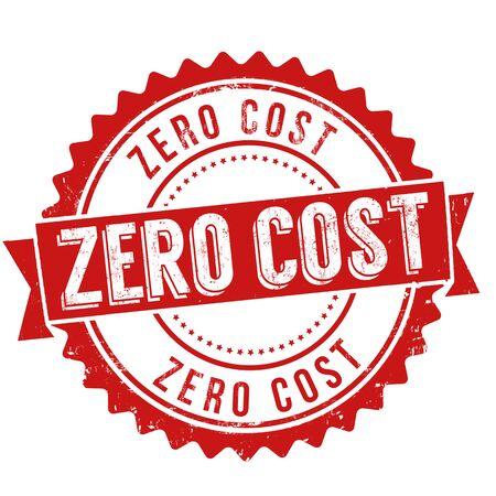 Zero cost sign or stamp on white background, vector illustration Ilustração