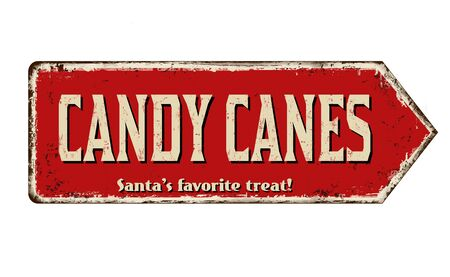 Candy canes vintage rusty metal sign on a white background, vector illustration