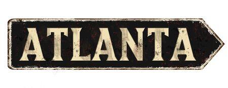 Atlanta vintage rusty metal sign on a white background, vector illustration Ilustração