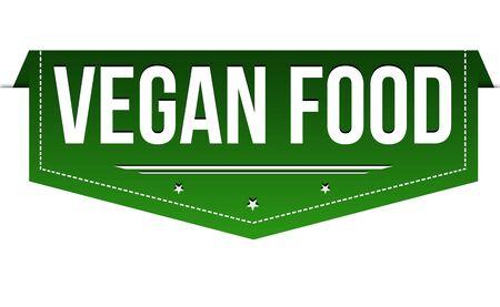 Vegan food banner design on white background, vector illustration Ilustração