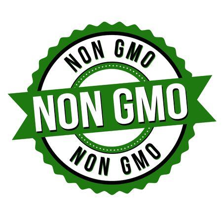 Non GMO label or sticker on white background, vector illustration