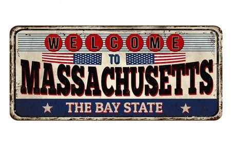Massachusetts vintage rusty metal sign on a white background, vector illustration Ilustração