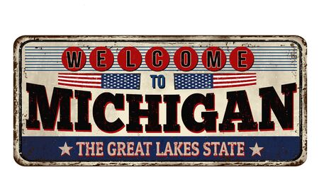 Welcome to Michigan vintage rusty metal sign on a white background, vector illustration