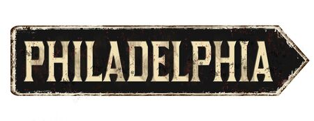 Philadelphia vintage rusty metal sign on a white background, vector illustration