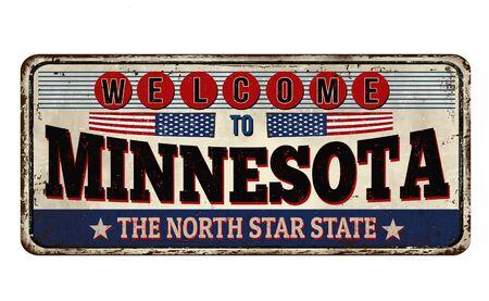 Minnesota vintage rusty metal sign on a white background, vector illustration Ilustração