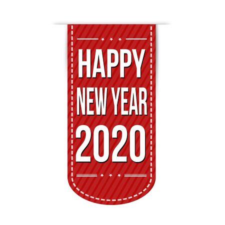 Happy new year 2020 banner design on white background, vector illustration Vektorové ilustrace