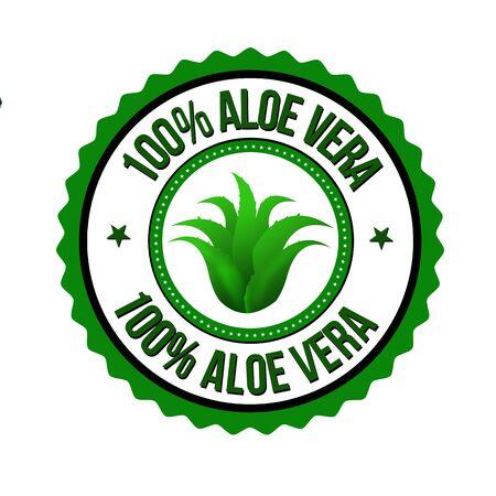100% aloe vera label or sticker on white background, vector illustration