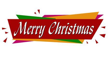 Merry Christmas banner design on white background, vector illustration