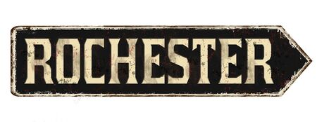 Rochester vintage rusty metal sign on a white background, vector illustration