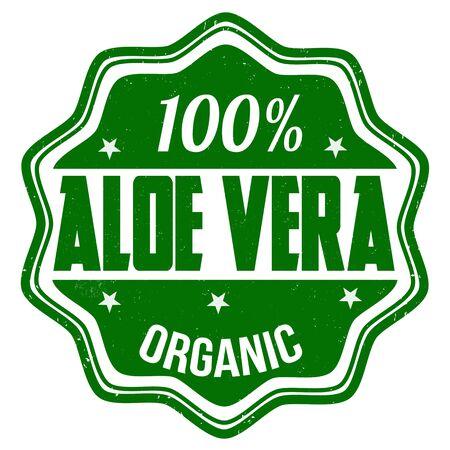100% aloe vera grunge rubber stamp on white, vector illustration