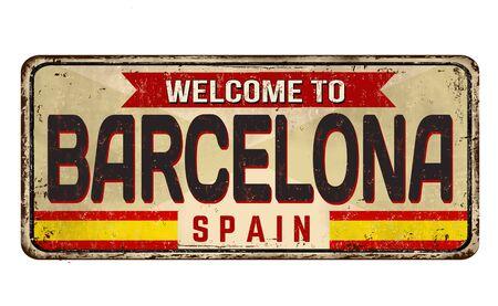 Barcelona vintage rusty metal sign on a white background, vector illustration Ilustração