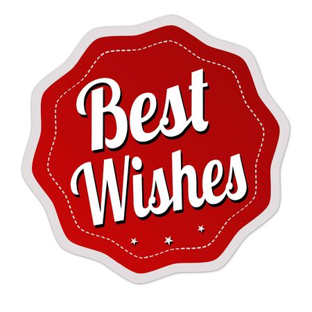 Best wishes label or sticker on white background, vector illustration
