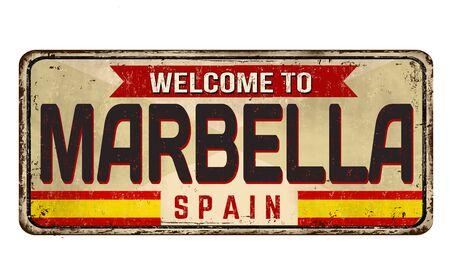 Welcome to Marbella vintage rusty metal sign on a white background, vector illustration Ilustração