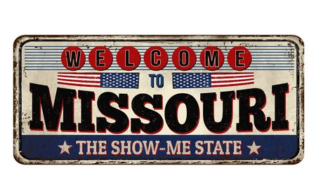 Welcome to Missouri vintage rusty metal sign on a white background, vector illustration