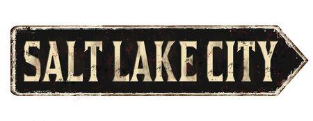 Salt Lake City vintage rusty metal sign on a white background, vector illustration