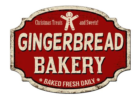 Gingerbread bakery vintage rusty metal sign on a white background, vector illustration