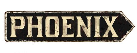 Phoenix vintage rusty metal sign on a white background, vector illustration