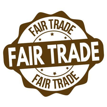 Fair trade sign or stamp on white background, vector illustration Ilustração