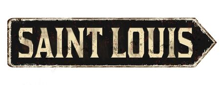 Saint Louis vintage rusty metal sign on a white background, vector illustration